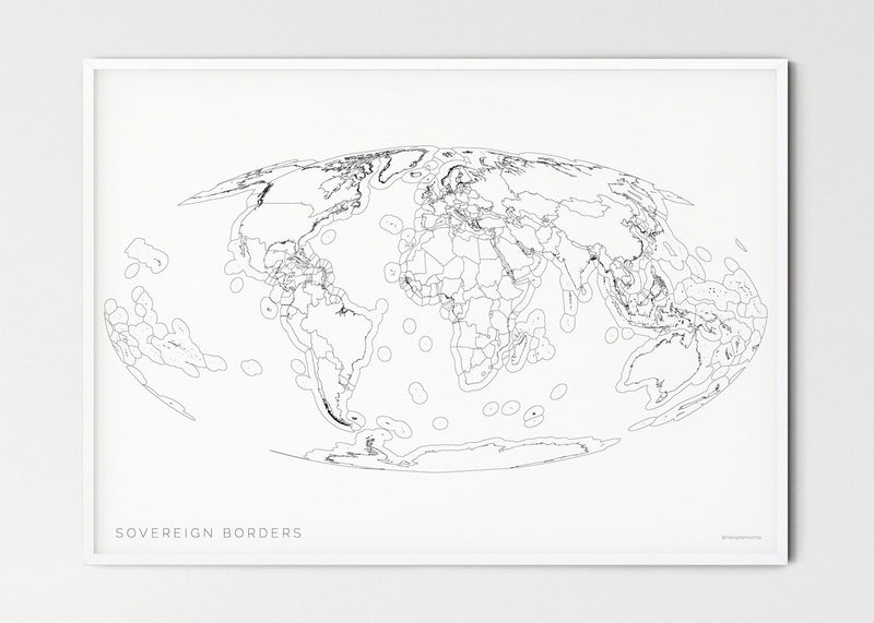 "THE WORLD AS SOVEREIGN BORDERS Mapographics Print Material Borders_LARGE1 / Small title / 100x70 cm (39.37x27.56"")"
