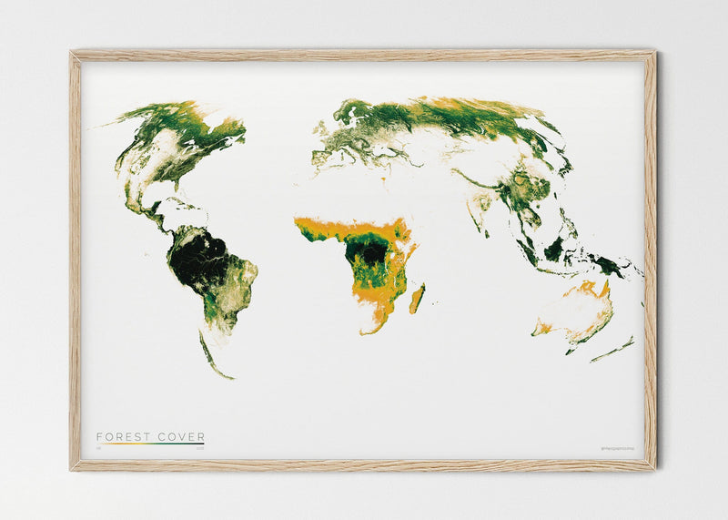 "THE WORLD AS FOREST Mapographics Print Material FOREST_COVER_LARGE3 / Small title / 100x70 cm (39.37x27.56"")"