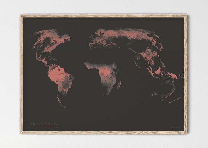 "THE WORLD AS FOREST Mapographics Print Material FOREST_COVER_LARGE6 / Small title / 100x70 cm (39.37x27.56"")"
