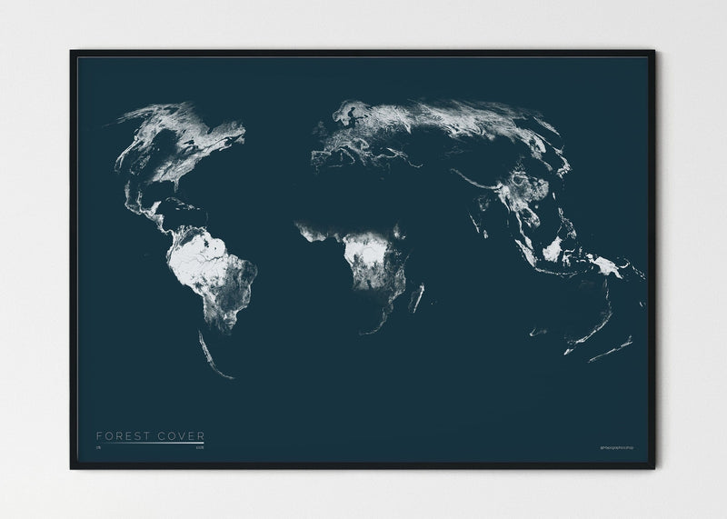 "THE WORLD AS FOREST Mapographics Print Material FOREST_COVER_LARGE9 / Small title / 100x70 cm (39.37x27.56"")"