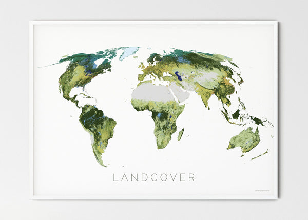 "THE WORLD AS IT APPEARS Mapographics Print Material LANDCOVER_LARGE1 / Large title / 100x70 cm (39.37x27.56"")"