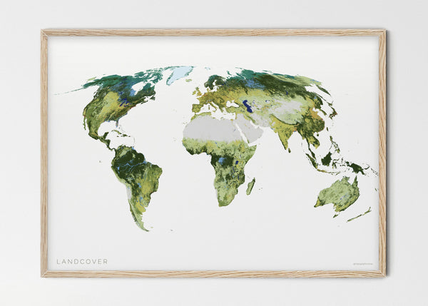 "THE WORLD AS IT APPEARS Mapographics Print Material LANDCOVER_LARGE1 / Small title / 100x70 cm (39.37x27.56"")"