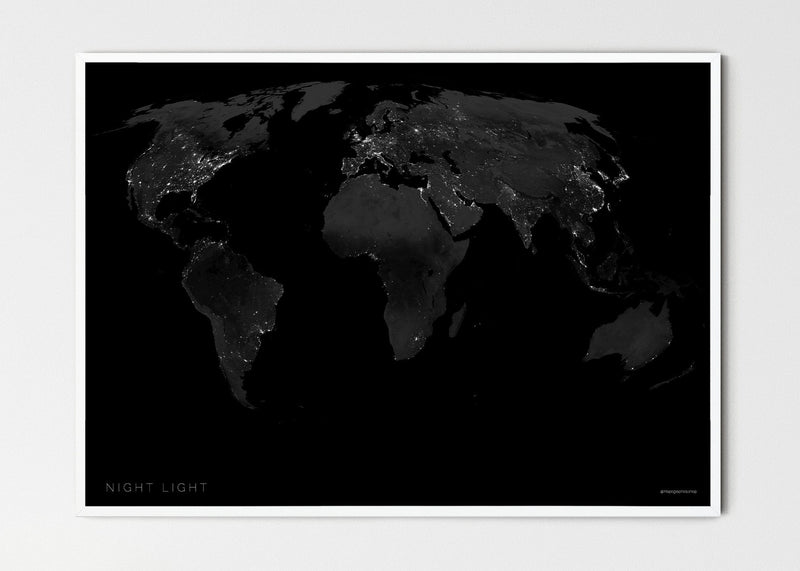 "THE WORLD BY NIGHT LIGHT Mapographics Print Material NIGHT_LIGHT_LARGE5 / Small title / 100x70 cm (39.37x27.56"")"