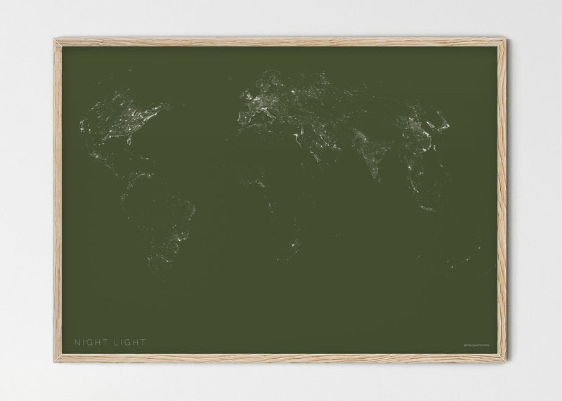 "THE WORLD BY NIGHT LIGHT Mapographics Print Material NIGHT_LIGHT_LARGE6 / Small title / 100x70 cm (39.37x27.56"")"
