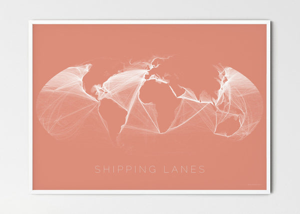 "THE WORLD AS SHIPPING ROUTES Mapographics Print Material Shipping_LARGE15 / Large title / 100x70 cm (39.37x27.56"")"