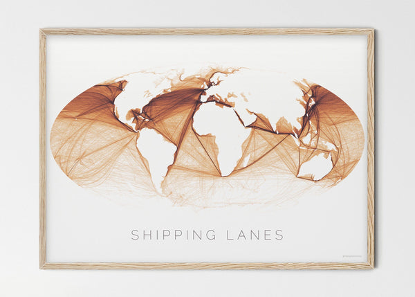 "THE WORLD AS SHIPPING ROUTES Mapographics Print Material Shipping_LARGE17 / Large title / 100x70 cm (39.37x27.56"")"