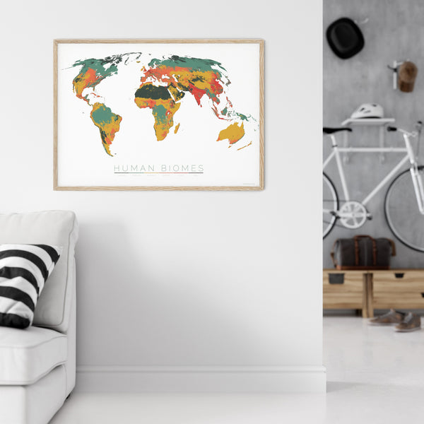 THE WORLD AS THE SIX ENVIRONMENTS WHERE HUMANS LIVE Mapographics Print Material