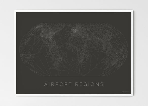 "THE WORLD AS AIRPORT LOCATION Mapographics Print Material Airports_LARGE12 / Large title / 100x70 cm (39.37x27.56"")"