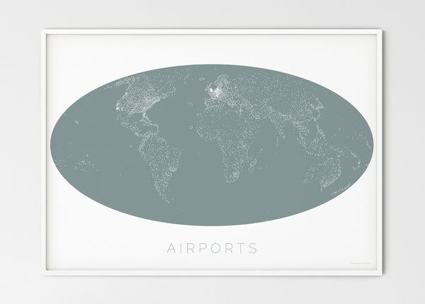 "THE WORLD AS AIRPORT DENSITY Mapographics Print Material Airports_LARGE14 / Large title / 100x70 cm (39.37x27.56"")"