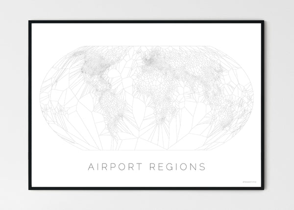 "THE WORLD AS AIRPORT LOCATION Mapographics Print Material Airports_LARGE9 / Large title / 100x70 cm (39.37x27.56"")"