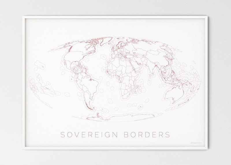 "THE WORLD AS SOVEREIGN BORDERS Mapographics Print Material Borders_LARGE2 / Large title / 100x70 cm (39.37x27.56"")"