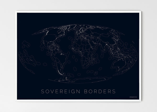 "THE WORLD AS SOVEREIGN BORDERS Mapographics Print Material Borders_LARGE3 / Large title / 100x70 cm (39.37x27.56"")"