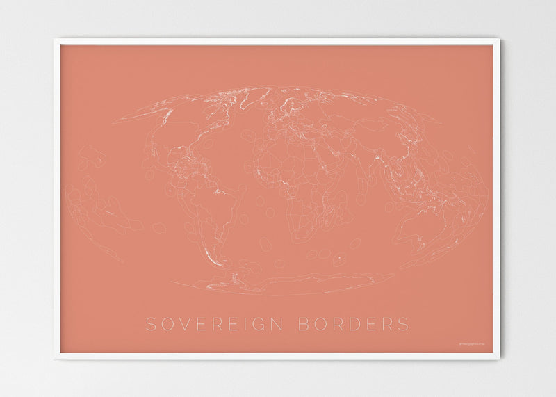 "THE WORLD AS SOVEREIGN BORDERS Mapographics Print Material Borders_LARGE5 / Large title / 100x70 cm (39.37x27.56"")"
