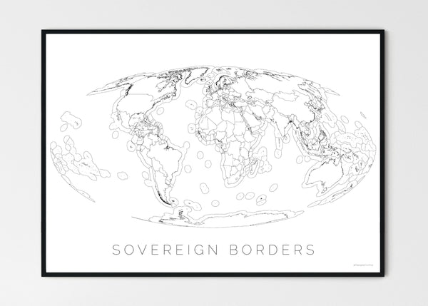 "THE WORLD AS SOVEREIGN BORDERS Mapographics Print Material Borders_LARGE1 / Large title / 100x70 cm (39.37x27.56"")"