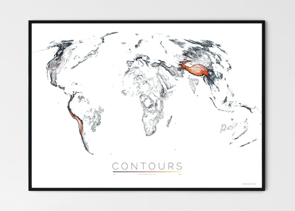 "THE WORLD AS VALLEYS AND HILLS Mapographics Print Material CONTOURS_LARGE2 / Large title / 100x70 cm (39.37x27.56"")"