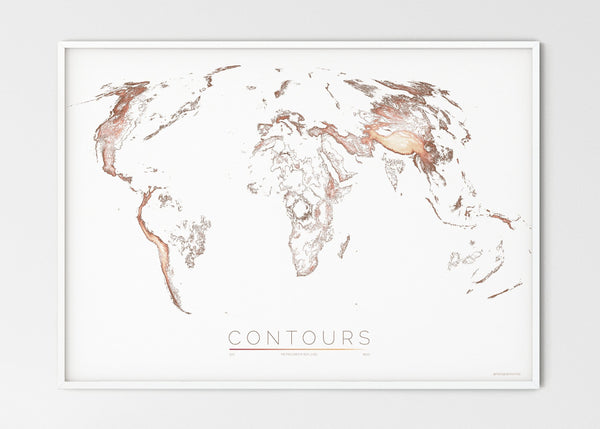 "THE WORLD AS VALLEYS AND HILLS Mapographics Print Material CONTOURS_LARGE5 / Large title / 100x70 cm (39.37x27.56"")"