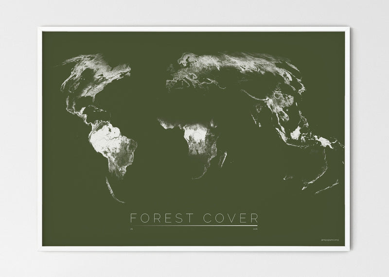 "THE WORLD AS FOREST Mapographics Print Material FOREST_COVER_LARGE10 / Large title / 100x70 cm (39.37x27.56"")"