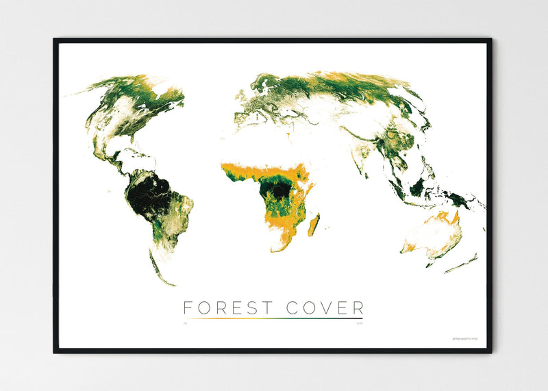 "THE WORLD AS FOREST Mapographics Print Material FOREST_COVER_LARGE3 / Large title / 100x70 cm (39.37x27.56"")"