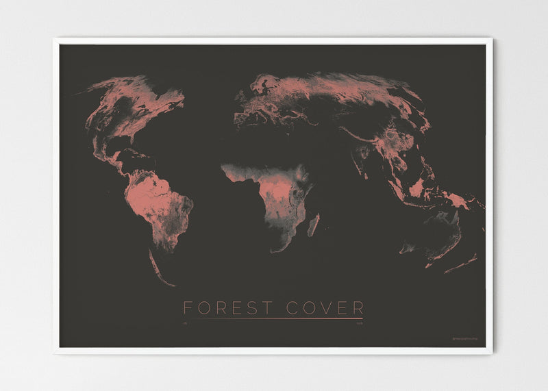 "THE WORLD AS FOREST Mapographics Print Material FOREST_COVER_LARGE6 / Large title / 100x70 cm (39.37x27.56"")"