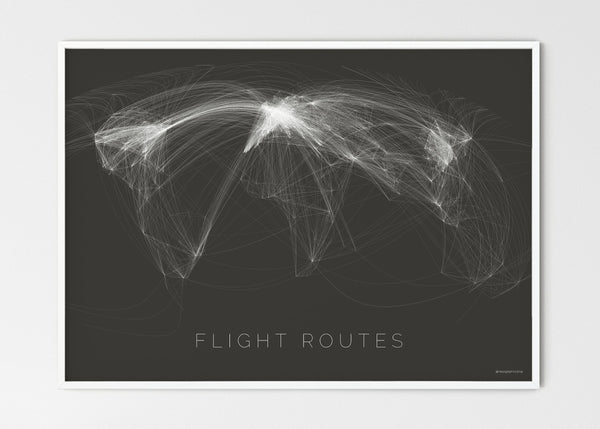 "THE WORLD AS FLIGHT ROUTES Mapographics Print Material Flight_routes_LARGE4 / Large title / 100x70 cm (39.37x27.56"")"