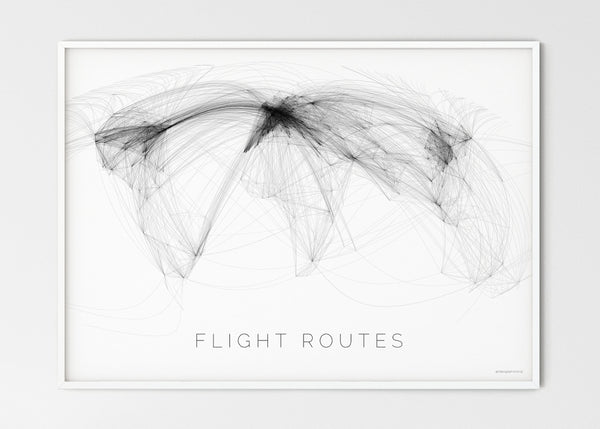 "THE WORLD AS FLIGHT ROUTES Mapographics Print Material Flight_routes_LARGE1 / Large title / 100x70 cm (39.37x27.56"")"