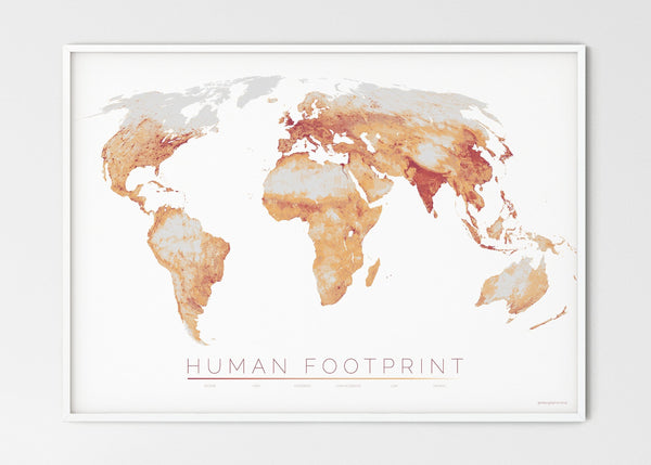 "THE WORLD AS HUMAN FOOTPRINT Mapographics Print Material HUMAN_FOOTPRINT_LARGE11 / Large title / 100x70 cm (39.37x27.56"")"