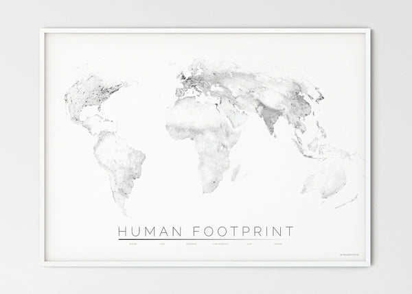 "THE WORLD AS HUMAN FOOTPRINT Mapographics Print Material HUMAN_FOOTPRINT_LARGE5 / Large title / 100x70 cm (39.37x27.56"")"