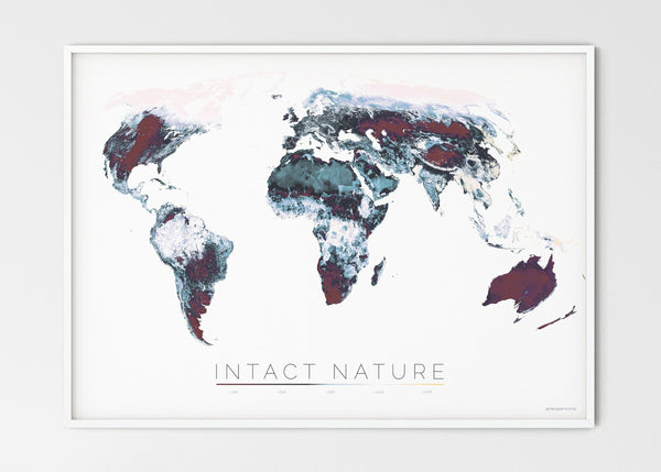 "THE WORLD AS THE STATUS OF BIODIVERSITY Mapographics Print Material INTACT_NATURE_LARGE1 / Large title / 100x70 cm (39.37x27.56"")"