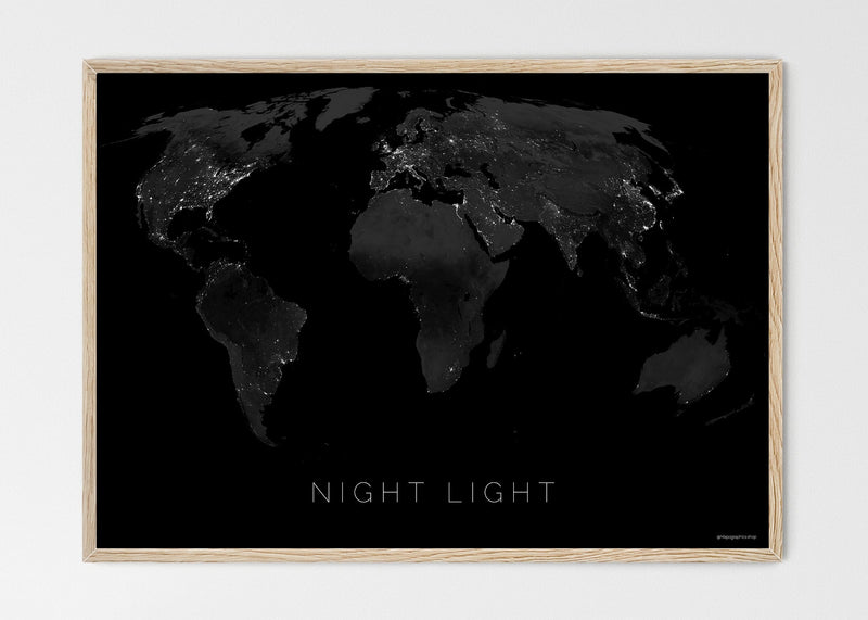 "THE WORLD BY NIGHT LIGHT Mapographics Print Material NIGHT_LIGHT_LARGE5 / Large title / 100x70 cm (39.37x27.56"")"