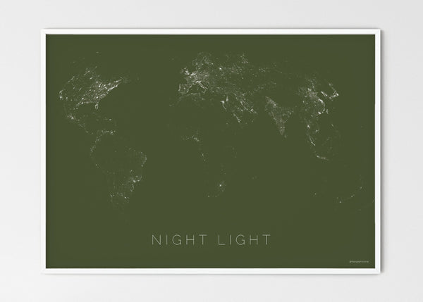"THE WORLD BY NIGHT LIGHT Mapographics Print Material NIGHT_LIGHT_LARGE6 / Large title / 70x50 cm (27.56x19.67"")"