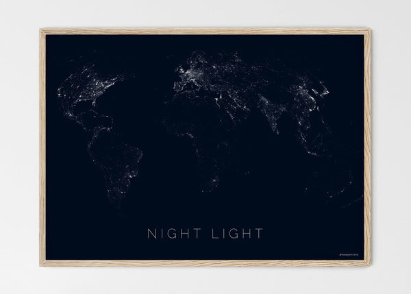 "THE WORLD BY NIGHT LIGHT Mapographics Print Material NIGHT_LIGHT_LARGE1 / Large title / 100x70 cm (39.37x27.56"")"