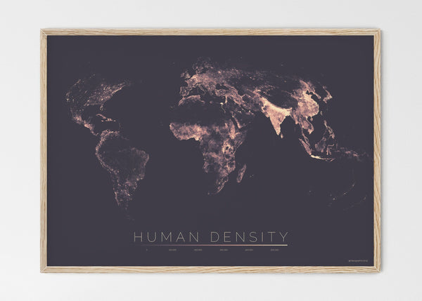 "THE WORLD AS POPULATION DENSITY Mapographics Print Material Population_LARGE3 / Large title / 100x70cm (39.37x27.56"")"