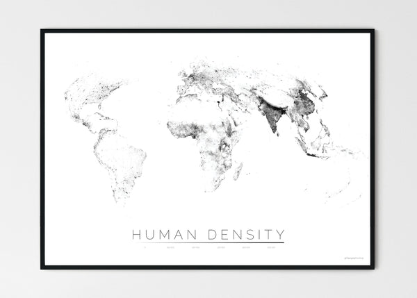 "THE WORLD AS POPULATION DENSITY Mapographics Print Material Population_LARGE6 / Large title / 100x70cm (39.37x27.56"")"