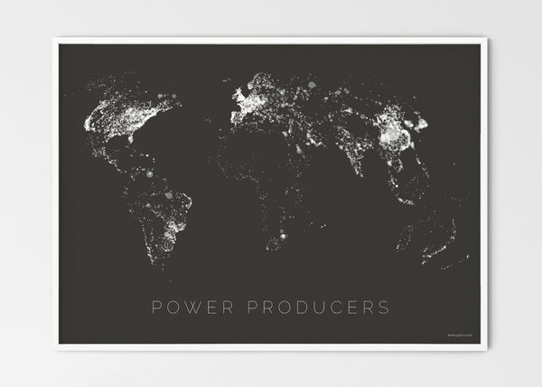 "THE WORLD AS POWER STATIONS Mapographics Print Material Power_Plants_LARGE1 / Large title / 100x70 cm (39.37x27.56"")"