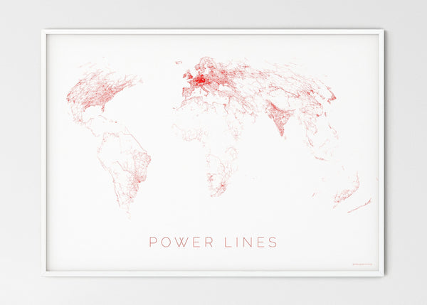 "THE WORLD AS POWER LINES Mapographics Print Material Powerlines_LARGE5 / Large title / 100x70 cm (39.37x27.56"")"