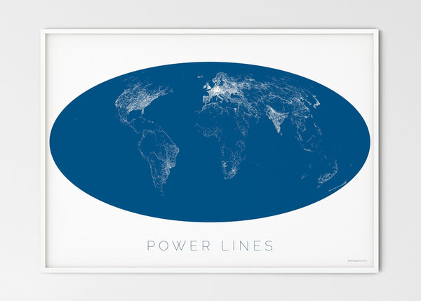 "THE WORLD AS POWER LINES Mapographics Print Material Powerlines_LARGE1 / Large title / 100x70 cm (39.37x27.56"")"