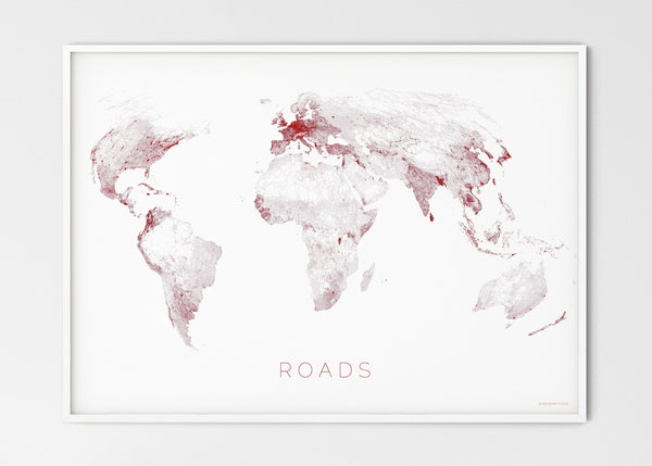 "THE WORLD AS ROADS Mapographics Print Material ROADS_LARGE16 / Large title / 100x70 cm (39.37x27.56"")"