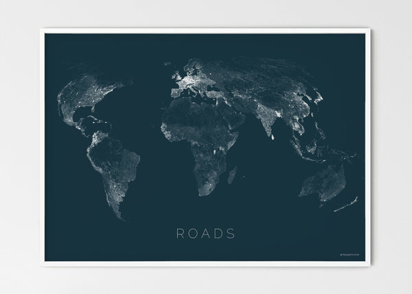 "THE WORLD AS ROADS Mapographics Print Material ROADS_LARGE41 / Large title / 100x70 cm (39.37x27.56"")"