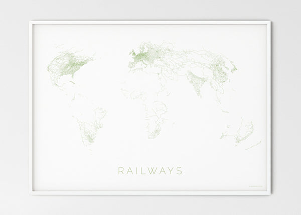 "THE WORLD AS RAILWAYS Mapographics Print Material Railwais_LARGE4 / Large title / 100x70 cm (39.37x27.56"")"