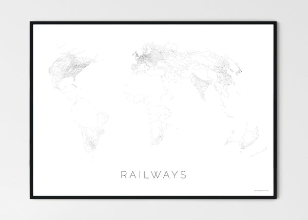 "THE WORLD AS RAILWAYS Mapographics Print Material Railwais_LARGE1 / Large title / 100x70 cm (39.37x27.56"")"