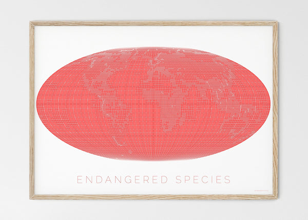 "THE WORLD AS ENGANGERED SPECIES MAPOGRAPHICS Print Material Red_listed_species_LARGE4 / Large title / 100x70 cm (39.37x27.56"")"