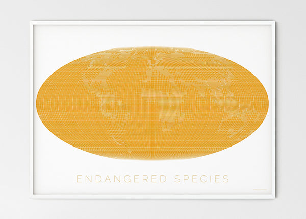 "THE WORLD AS ENGANGERED SPECIES MAPOGRAPHICS Print Material Red_listed_species_LARGE5 / Large title / 100x70 cm (39.37x27.56"")"
