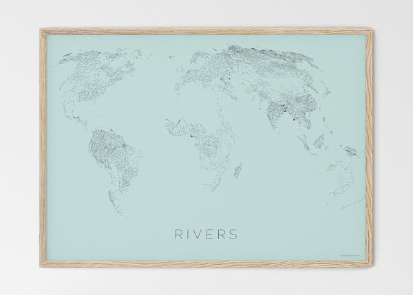"THE WORLD AS RIVERS Mapographics Print Material Rivers_LARGE2 / Large title / 100x70 cm (39.37x27.56"")"