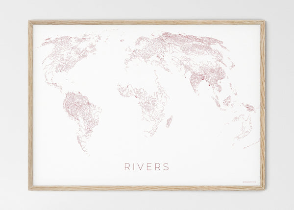 "THE WORLD AS RIVERS Mapographics Print Material Rivers_LARGE1 / Large title / 100x70 cm (39.37x27.56"")"