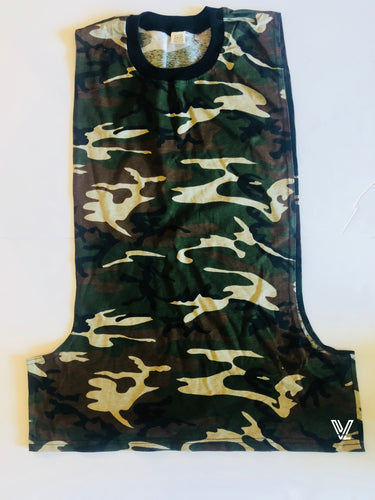 Camouflage Muscle Cut Crewneck Top with Open Sides