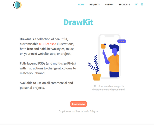 DrawKit just launched and offers lots of beautiful free illustrations.