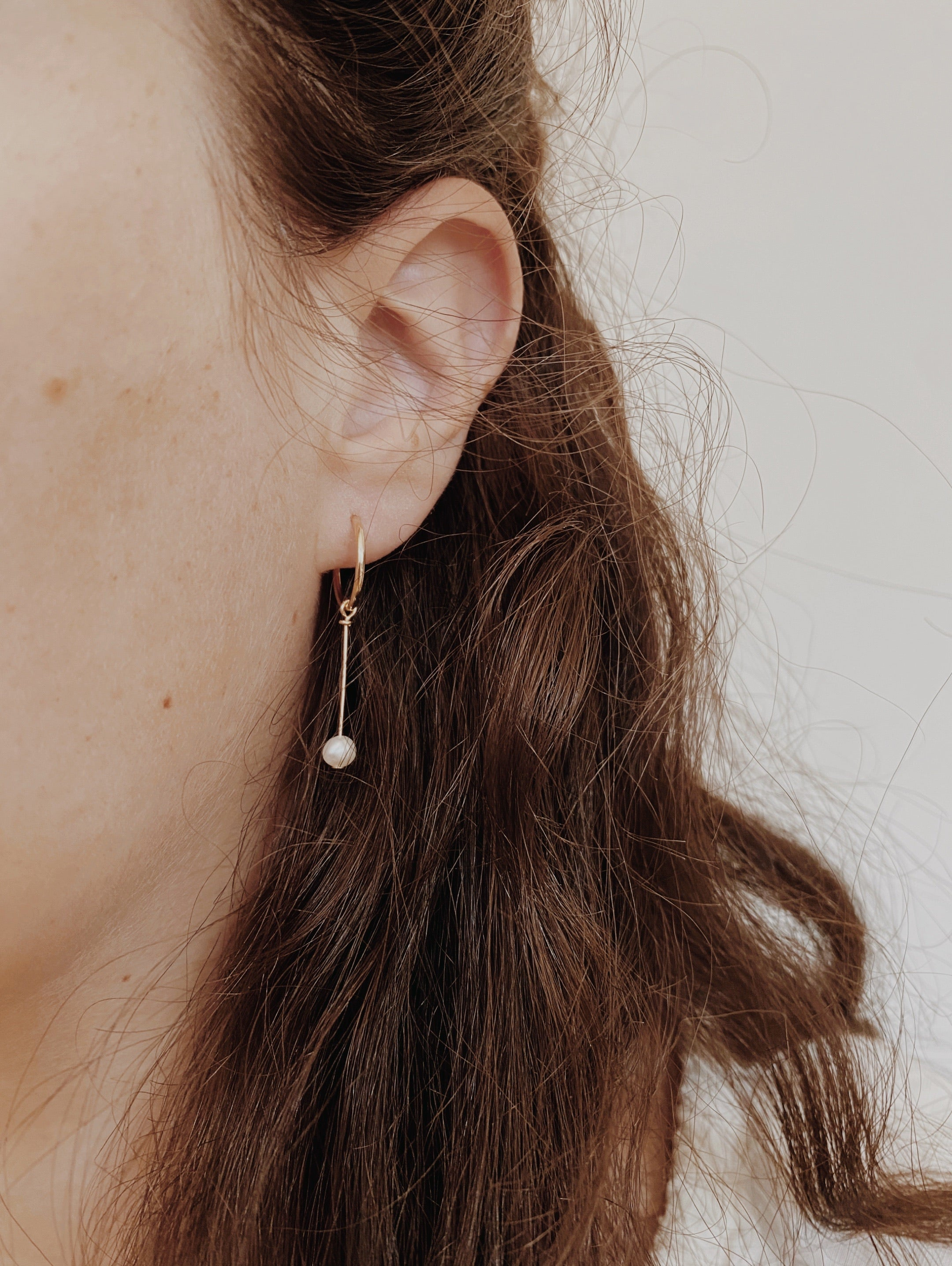 Minimal Pearl Drop Hoops
