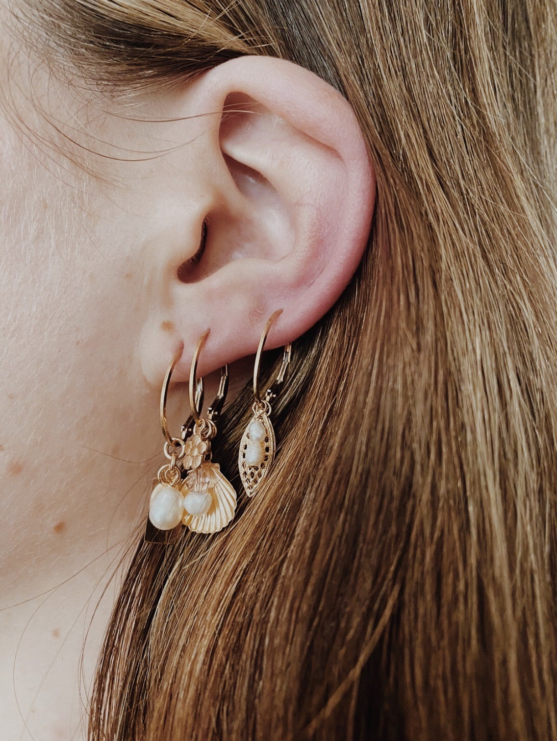 Pearl & Disc Cluster Earrings