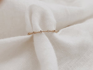 Solid Gold Diamond Milgrain Band