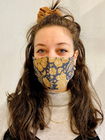 Navy Fern Linen Mask